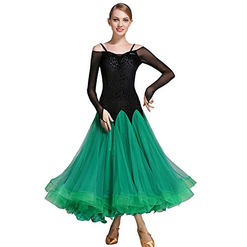 Kostüm Dance Hall - Q-JIU Dance Hall Modern Dance Manuelle Kostüm Frau High Performance Garn Kleid Sling Lange Ärmel Swing Dance Kostüm, grün, XL