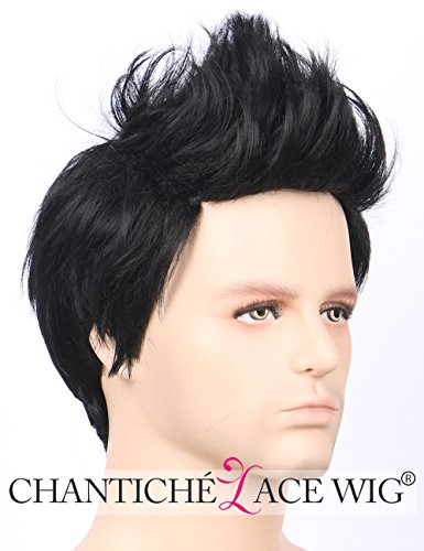 Preisvergleich Produktbild Chantiche Mens Wig - Cool Natural Straight Male Wig with Bangs Short Syntheric Wigs for Men Full Machine Made Mens Black Wig