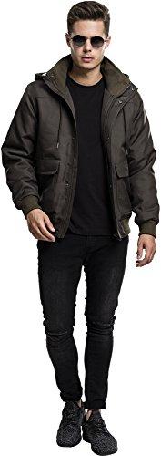 Urban Classics Herren Winterjacke Heavy Hooded Jacket, gefütterte Jacke mit abnehmbarer Kapuze mit Kunstfell-Futter darkolive