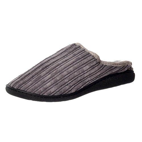 Foderato Di Pelliccia Di Lusso Maschile Onlineshoe Scivolare Su Pantofole Di Mulo Con Duro Da Portare Sole - Marrone, Testa Di Moro Grey
