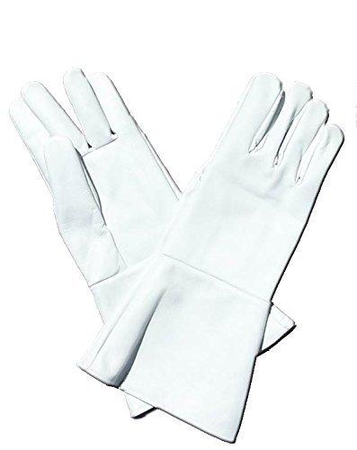 Leather Mystics Leder Stulpenhandschuhe weiß X-Large (Extra Groß) lang Arm ()