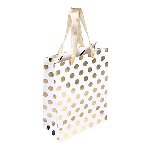Amosfun 10 stücke Geschenk Papiertüten mit Tupfen Muster Band Griff Geschenk Taschen Einkaufstüten Süßigkeitstaschen für Kinder Geburtstag Hochzeit Party Supplies Gefälligkeiten (Gold)