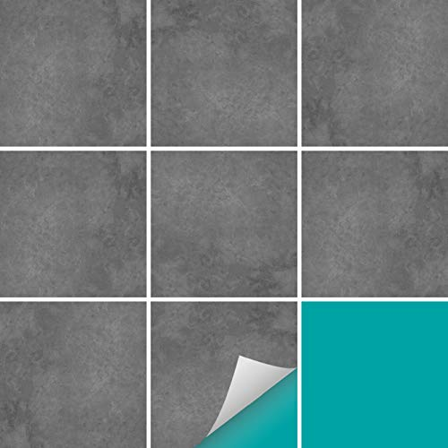 PrintYourHome Fliesenaufkleber für Küche und Bad   Fliesenfolie für 10x10cm Fliesen   Dekor Beton Dunkelgrau   202 Stück   Klebefliesen günstig in 1A Qualität