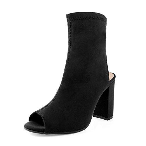 Ritmo Shoes Tronchetti Open Toe Elasticizzati con Tacco Largo (38 IT, Nero)