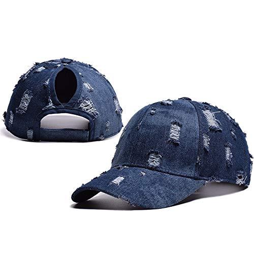 YYXXX Kappen Washed Denim Baseball Cap Damenmode offener Pferdeschwanz, hellblau, verstellbar