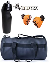 VELLORA Soft Leather Duffel Gym Bag (Black) With Penguin Sport Sipper, Gym Sipper Water Bottle And Orange Color...