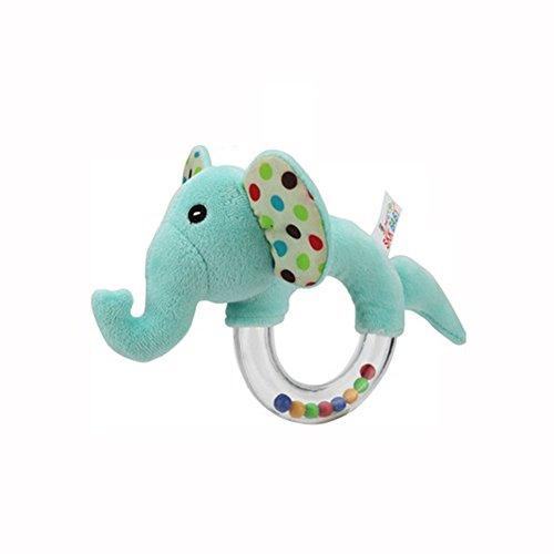 NiceButy Babyrassel Plüsch Tier Elefant Schüttler Spielzeug Ring Rassel mit Baby pädagogischen Spielzeug-Clearance Ring gestopft