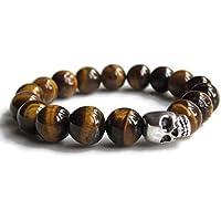 Mens Skull bracelet with Tigers Eye