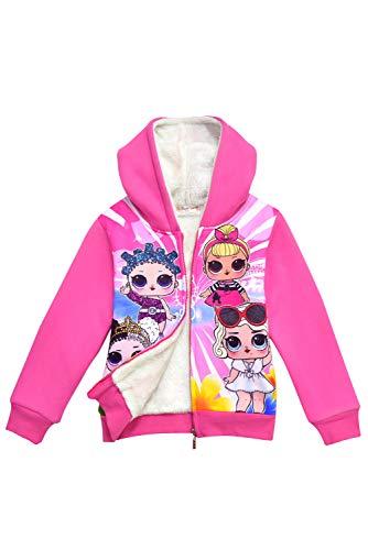 MingoTor Kinder Mädchen Kapuzenjacke Plus Samt warme Jacke Pullover mit Kapuze Sweatjacke Hoodie Cosplay Kostüm Rosa 140