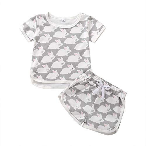LEXUPE Kinder Baby Mädchen Jungen Cartoon Bunny Tops T-Shirt Shorts Pyjamas Pjs Kleidung Set(Grau,100)