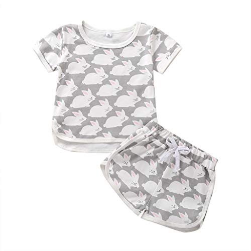 JERFER Infant Short Set Cartoon Häschen Tops T-Shirt Shorts Pyjamas Pjs Set