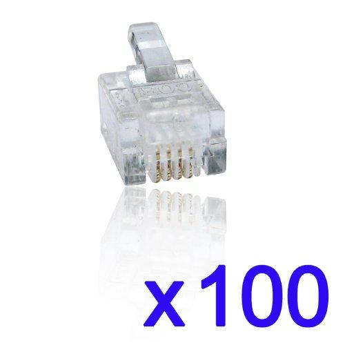 CDL Micro 100Stück 6P4C RJ11RJ-11Kabel Crimp Plug-end Modular Stecker