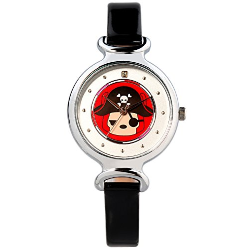 Time100 NEU Cartoon a-li analoges Quarzwerk Kinderuhr echtes Lederband Schwarz #W30002L.03A