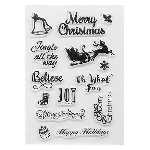 Lamdoo Klare Stempel, transparente Stempel Silikon Stempel DIY Scrapbooking Prägung Papierkarten Home Decor - Fröhliche Weihnachten -