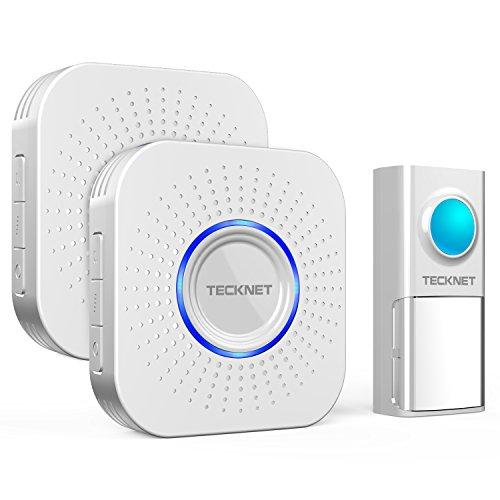TECKNET Campanello Wireless Impermeabile IP55, Doorbell Senza Fili Esterno Con Raggio Di Ricezione Di 300M, 58 Suonerie E 4 Volumi Regolabile, Indicatore LED (1XTrasmettitore E 2XRicevitore)