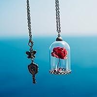 Collana con rosa in campana - La Bella e la Bestia