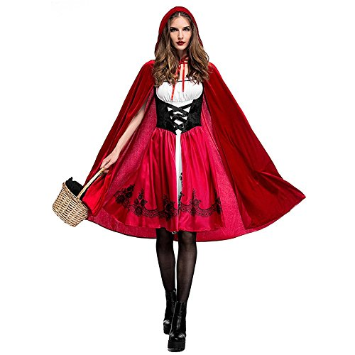 Hallowmax Rotkäppchen-Kostüm für Damen Little Red Riding Hood Cosplay Halloween Fasching (Red Riding Hood Kostüm Damen)