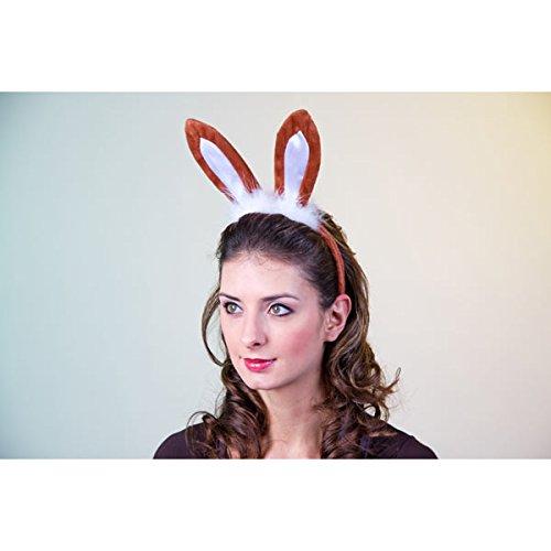 Kostüm Zubehör Haarreif mit Hasen-Ohren braun-weiß Karneval (Kostüme Hasenohren Braun)