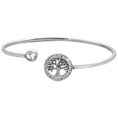 Beloved ❤️ Bracciale da donna acciaio snodabile bangle semirigido con terminale varie forme o con contorno cristalli