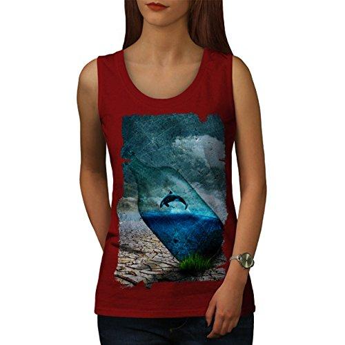 Orca Flasche Natur Wasser Fisch Damen S-2XL Muskelshirt   Wellcoda Rot