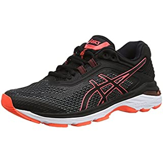 ASICS Women's Gt-2000 6 Running Shoes, (Black/Flash Coral 001), 6.5 UK