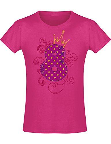 Shirt: 8 Jahre mit Krone Kinder - Geburtstags T-Shirt 8 Jahre Kind Mädchen - Geschenk Zum 8. Geburtstag - Mädchen T-Shirt 8 Geburtstag - Geburtstag-Shirt Kinder 8, Pink Fuchsia, 140 (9 - 10 Jahre)
