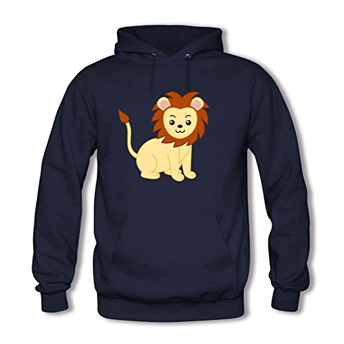 Classic Pullover Hooded Sweatshirt - Women's Cute Cartoon Lion Casual Tops B