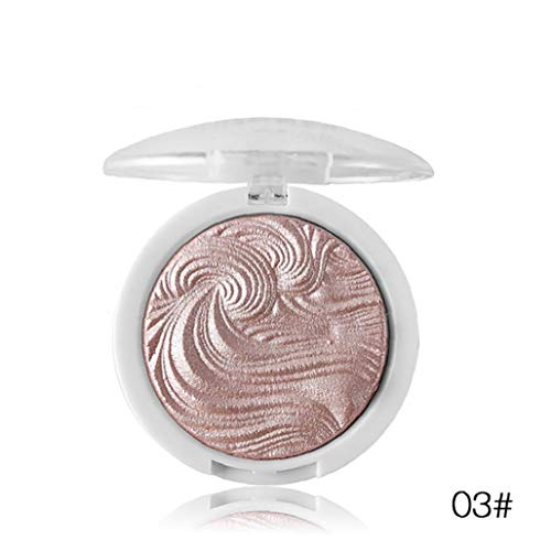 1 Piece Pro Baked Highlighter All Natural Highlighter Powder Sheer Coverage Silky Finish Shimmer Highlighter Facial Bronzer For 3D Makeup Effect(03) -