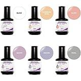 Cofre 6 esmalte de uñas semipermanente - Colores : Blanc, Carribean Sand, Blush, Mauve, Heaven, Pearl