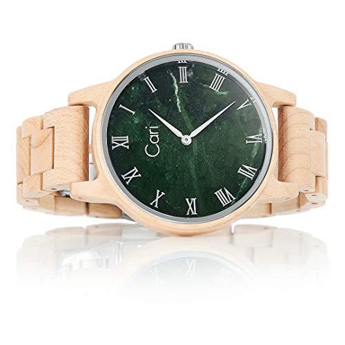 Cari Herren Männer Holzuhr 42mm mit Schweizer Uhrwerk - Holz-Armbanduhr Dublin-111
