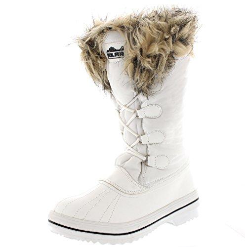 Donna Nylon Caldo Pelliccia Trim Anatra Pioggia Inverno Pioggia Stivali Bianco