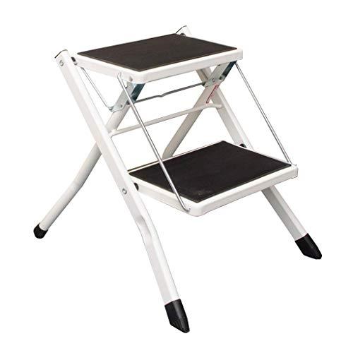 JHUEN Folding 2 Step Ladder Stool Kitchen Step Stool Anti Slip Mat Tread Portable Kitchen Stool Heavy Duty,150 kg Capacity - Step Ladder 6 Tread