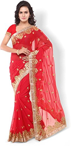 Laxmi Fashion Faux Georgette Designer Red Fancy Saree