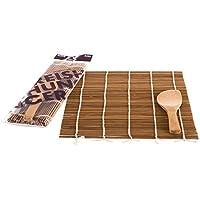 Reishunger Sushi Rollmatte mit Löffel, 24 x 24 cm, Bambus - Für die Zubereitung von Maki-Sushi [erhältlich als 1er, 4er und 10er Pack]
