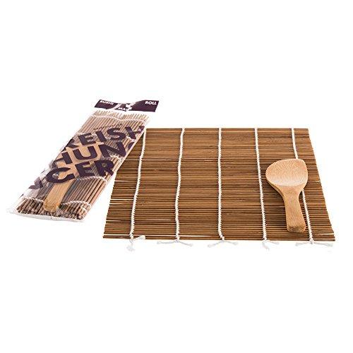 Reishunger Sushi Rollmatte aus Bambus mit Löffel (24x24cm) - 4er Pack, Für die Zubereitung von Maki-Sushi - erhältlich als 1er, 4er und 10er Pack