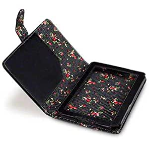 """Amazon Kindle Fire 7"""", LCD Display (not Fire HD) Tablet PU Leather Folio Case / Cover / Pouch / Holster - Black with Floral Interior"""