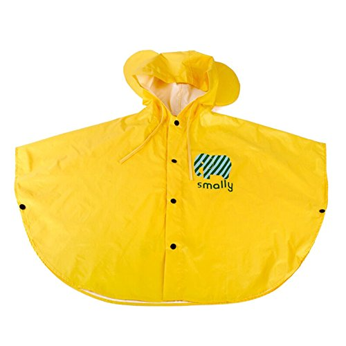 Poncho de Pluie Impermeable Enfant Petites Oreilles Windproof et Antipluie pour Bébé Fille Garçon Jaune/S