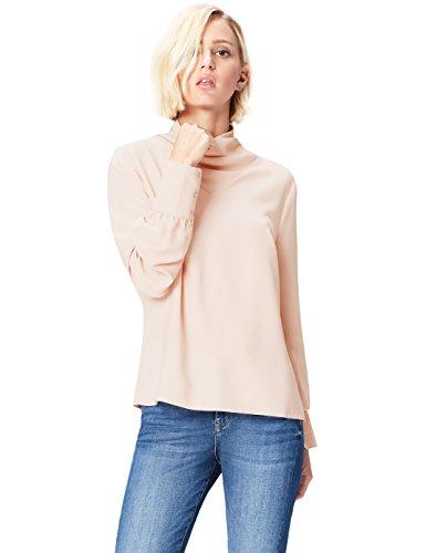 find. Damen Bluse mit Hochstellkragen , Beige (Smoke Pink Ivory), M