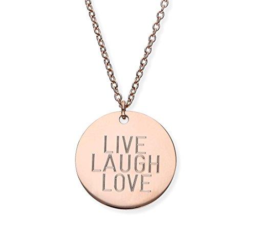 URBANHELDEN - Damen-Kette mit rundem Spruch Anhänger - Hals Kette Amulett - Edelstahl - Gravur: Live Laugh Love - Rosegold