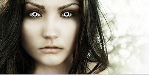 Farbige Kontaktlinsen Vampir MIT STÄRKE -2.00 + Kunstblut Kapseln + Behälter von FXCONTACTS in weiß, weich, im 2er Pack - perfekt zu Halloween, Karneval, Fasching oder Fasnacht - 2