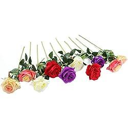 Ramo de rosas artificiales de seda Justoyou para arreglos florales para el hogar, la oficina o las bodas., Mixed Colors