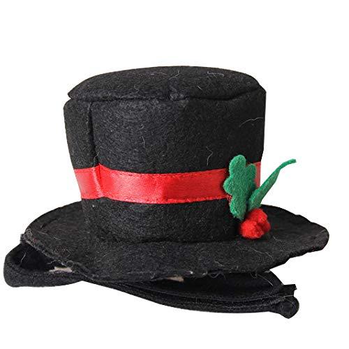 Gentleman Black Top Hat Weihnachten Pet Dress Up Stirnband Kostüm Cap,Black-15cm*6cm*7cm ()