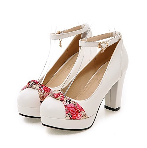 VogueZone009 Femme Boucle Pu Cuir Rond à Talon Haut Chaussures Légeres Blanc