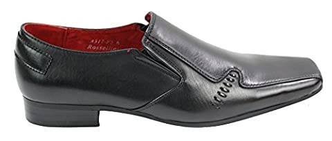 Mens Italian Design Black Leather Shoes Squere Front Smart Office Wedding