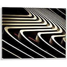 """Kunst für Alle Image sur verre: Franck Belloeil Golden Waves on bloody Stripes #2"""", image de haute qualité, impression d'art brillante sur verre pur, 60x40 cm"""