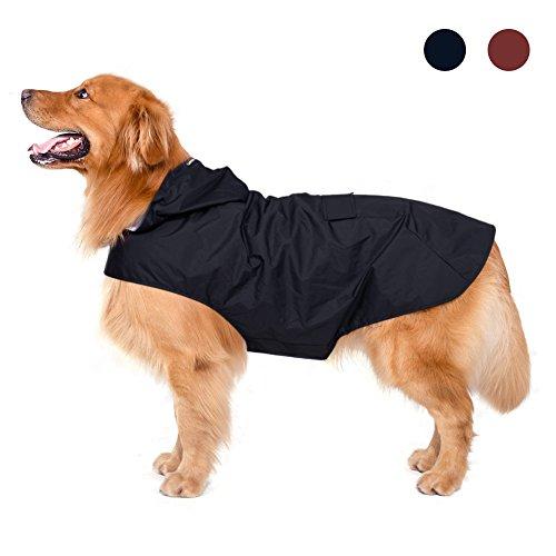 Hund Regenmantel mit Kapuze & Harness Loch & Sicherheit Reflektierende Streifen, Ultra-Leicht atmungsaktive 100% wasserdichte Regenjacke aus Zellar geeignet für Mittlere und große Hunde.