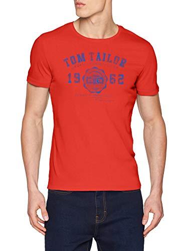 ec5f392f1f8f88 Tom Tailor Casual 1008637 Camiseta Rojo (Basic Red 13189) Medium para Hombre