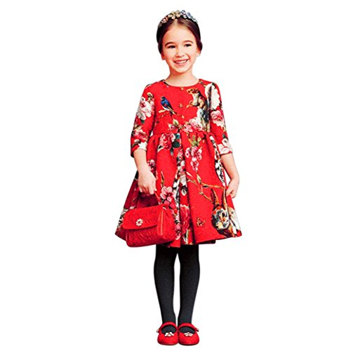 id, DoraMe Baby Mädchen Blume Kleid Zipper Baumwolle Party Kleid Lässig Täglich Prinzessin Kleid Dreiviertel-Ärmel Für 3-8 Jahr (Rot, 3 Jahr) (Größe 1-blumen-mädchen-kleid)