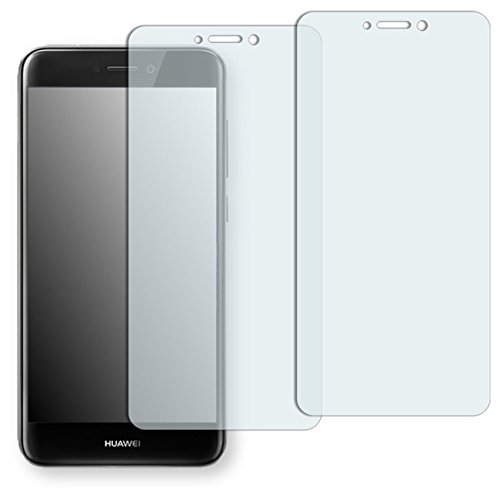 2x Golebo Crystal Clear screen protector for Huawei P8 Lite (2017) - (Transparent screen protector, Air pocket free application, Easy to remove) (intentionally smaller than the display due to its curved surface)