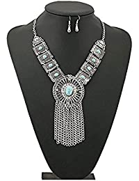 Shining Diva Fashion Jewellery Oxidised Silver Party Wear Necklace Set For Women Stylish Necklace For Girls